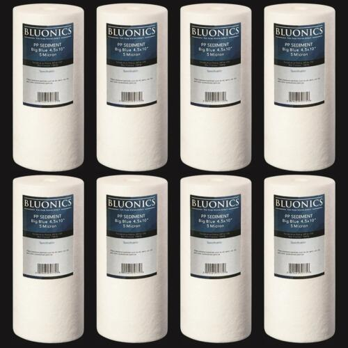 "8 Big Blue Sediment Whole House Water Filters (5 Micron) 4.5"" x 10"" Cartridges>"