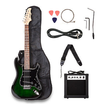 Electric Guitar w/ Guitar Case,15w AMP,Strap,Tuner,&Pick Steel Strings Green