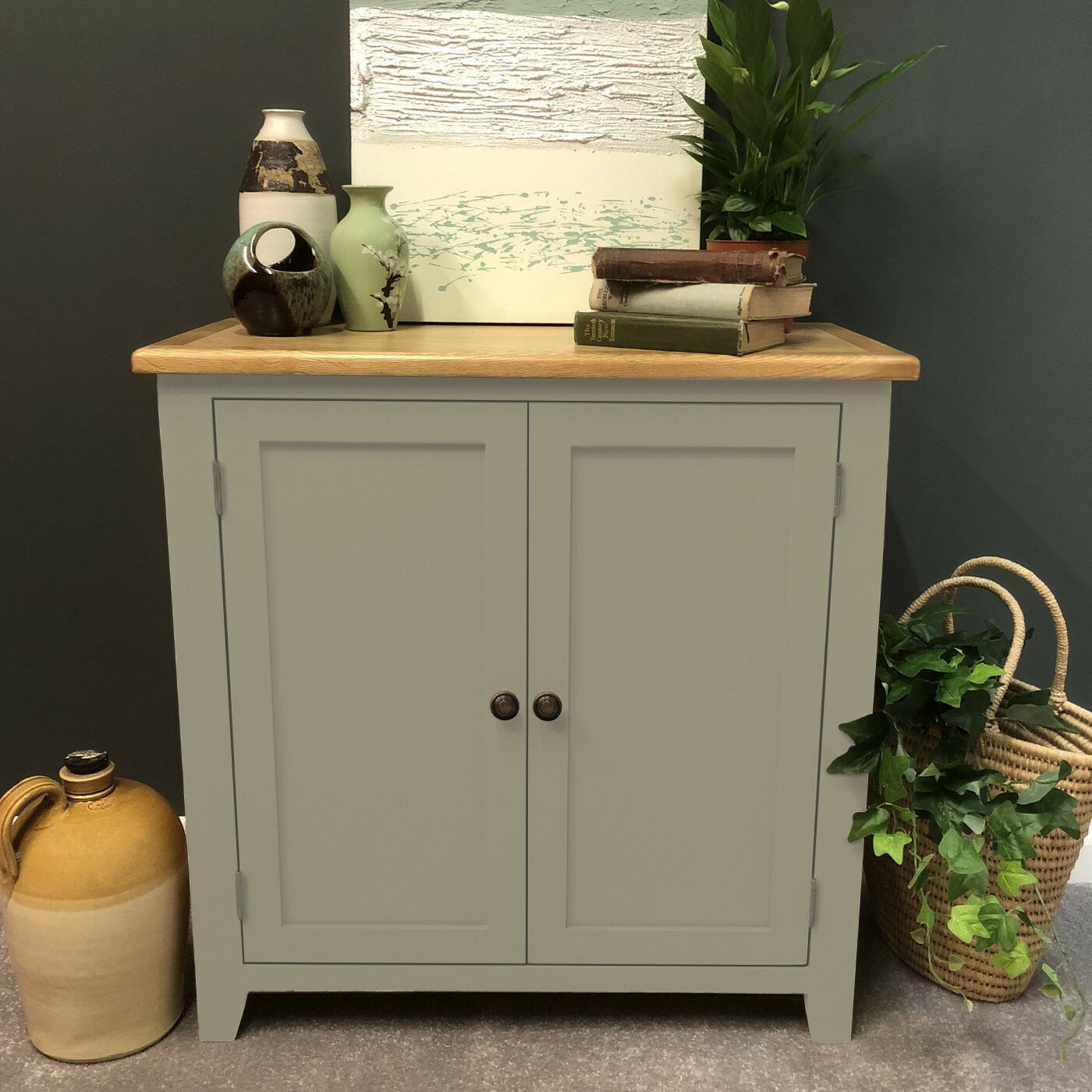 Details about grey painted oak linen cupboard storage cabinet solid wood sideboard woburn