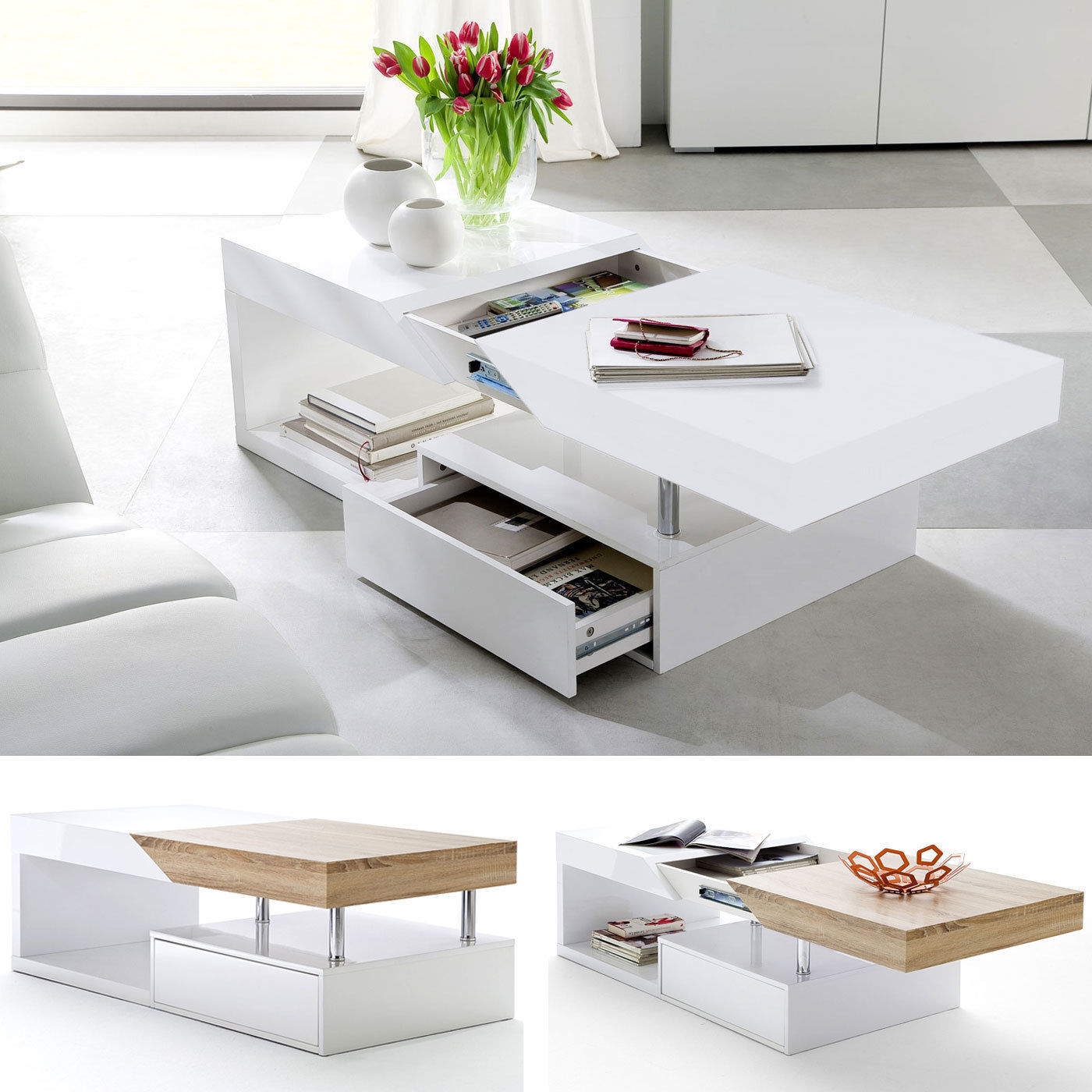 Impress Guests With 25 Stylish Modern Living Room Ideas: ModaNuvo White Black Gloss Oak Extending Storage Coffee