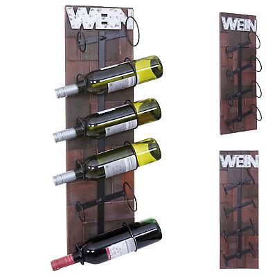 Weinregal HWC-A90, Wandregal Flaschenhalter, Holz Metall für 4 oder 6 Flaschen