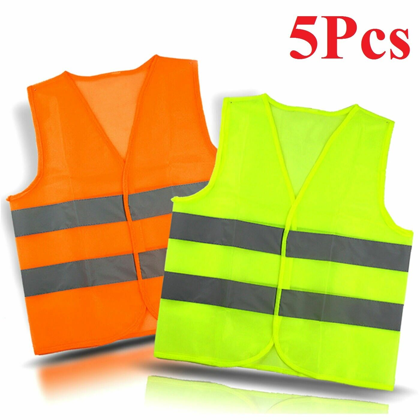 5x wholesale  Neon Safety Vest High Visibility Reflective Stripes Orange Yellow Business & Industrial