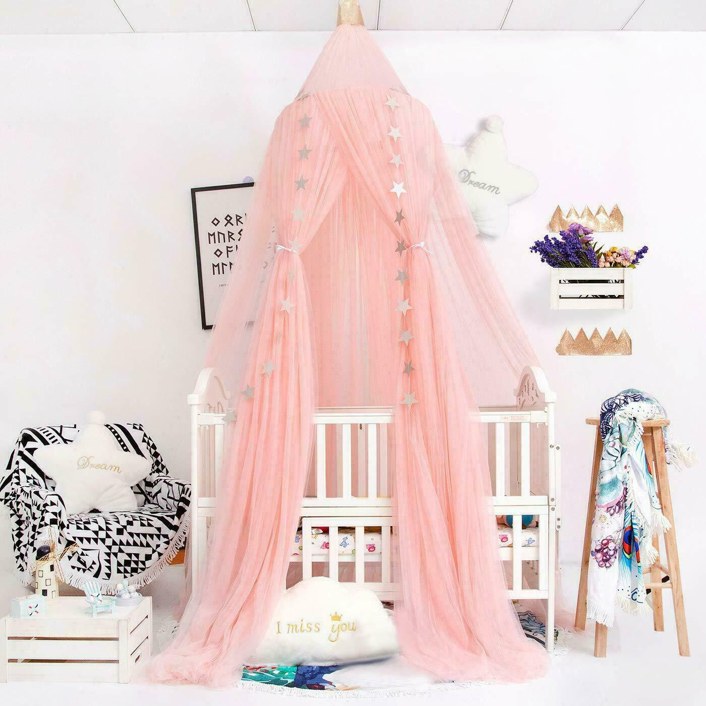 pink bed canopy princess baby dome bed