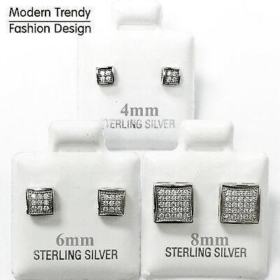 Square Princess Cut Micro Pave with CZ Stud 925 Sterling Silver Post Earrings