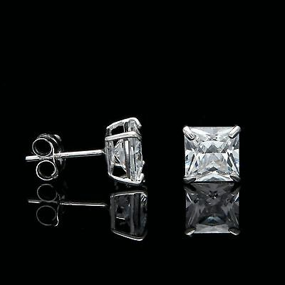 2CT Princess Cut Diamond Earrings Studs 14K White Gold Square Solitaire VVS1