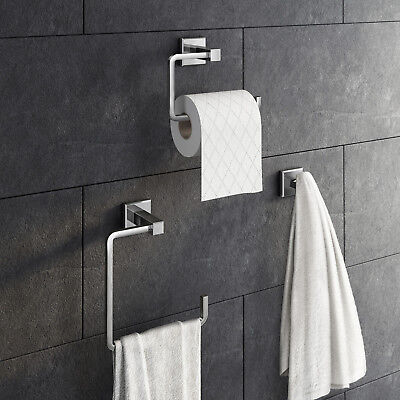 Chrome Bathroom Accessory Sets Toilet Roll Holder Towel Robe Hook Wall Mounted