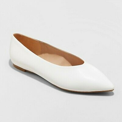 Women's Camille Pointed Toe Ballet Flats - White - A New Day - Choose Size!