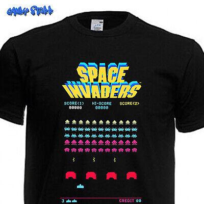 Schwarzes Retro-shirt (SPACE INVADERS 80er Retro Kult Arcade Classic Games Nerd Geek  T-Shirt - schwarz)