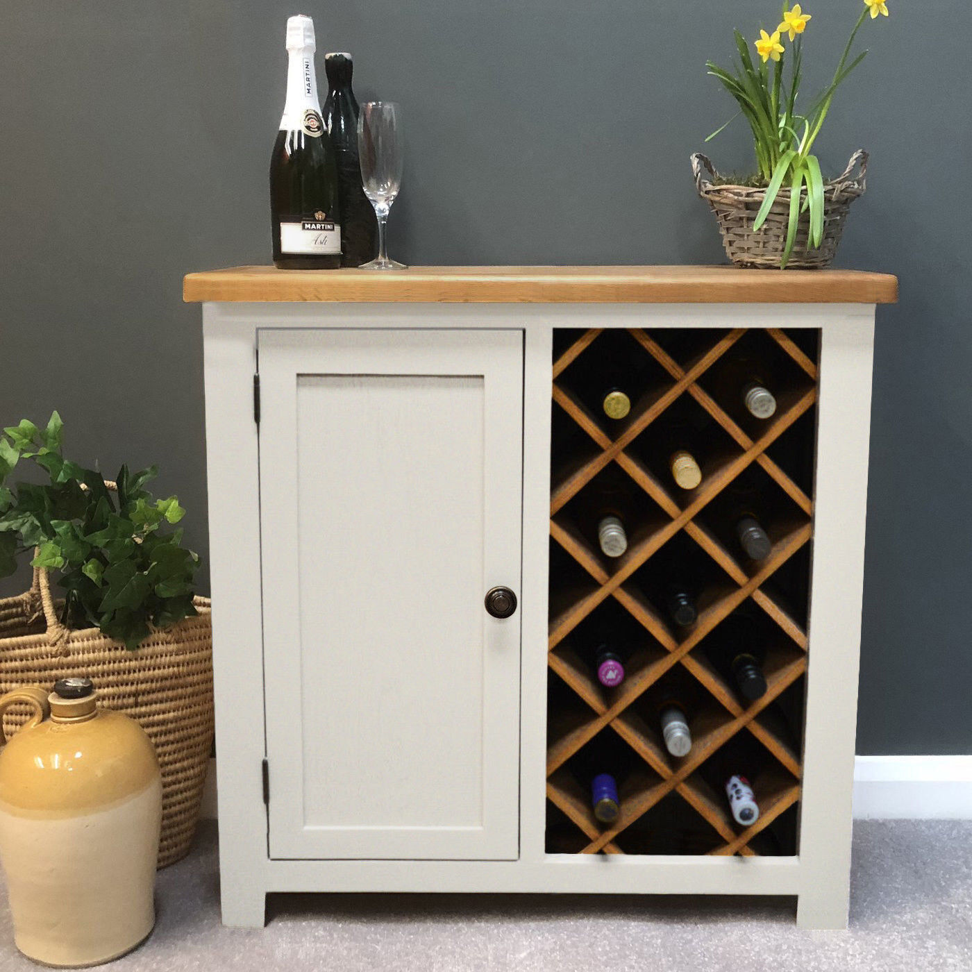 Painted Cream Oak Wine Cabinet Wine Rack With Cupboard Solid Wood Unit Lundey Ebay