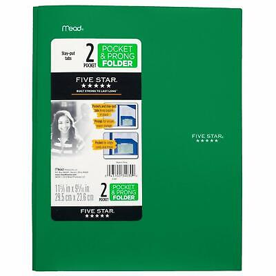 Plastic Folder With Prongs 2 Pockets Green