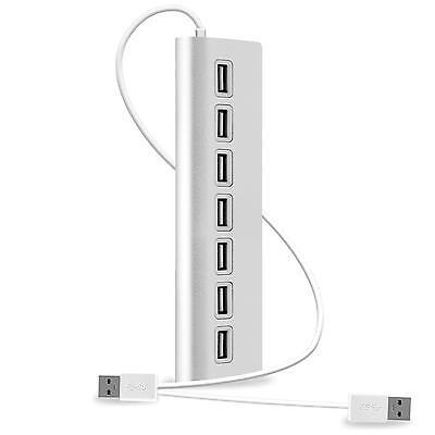 7 Port USB HUB 2.0 ALU Adapter Verteiler High Speed Kabel Stecker PC Mac