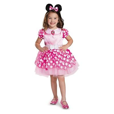 Toddler Girls Pink Dress Minnie Mouse Halloween Costume~Ears Headband~3T-4T/3-4