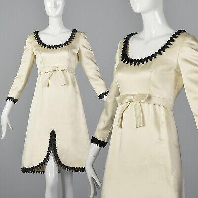 S 1960s Mollie Parnis White Satin Dress Black Trim Cocktail Party Evening 60s](1960 Party Clothes)