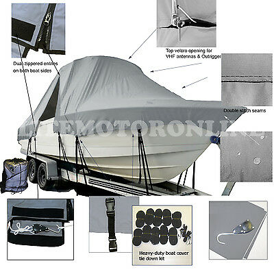 SeaCraft SC26 Master Angler Center Console Fishing T-Top Hard Top Boat Cover