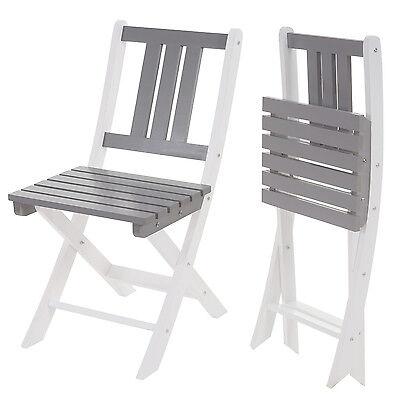 2x Holzstuhl Feldkirch, Gartenstuhl Klappstuhl, weiß grau lackiert