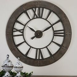 Wall Clock 40 Large Unique Industrial Weathered Designed New Oversized Clocks