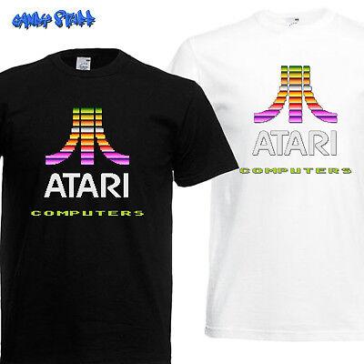 Schwarzes Retro-shirt (Atari Arcade Gaming T-Shirt Geek Nerd Retro Kult Classic in weiss und schwarz)