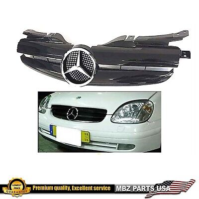 SLK R170 ALL BLACK GRILLE AMG UPGRADE CHROME STAR EMBLEM MERCEDES SLK320 SLK230