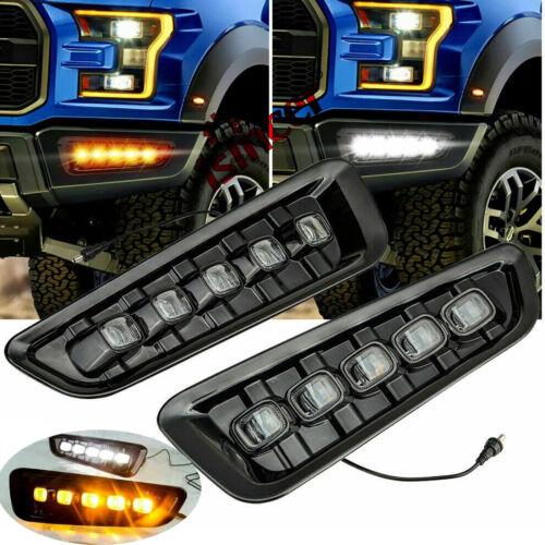 2x LED Daytime Running Fog Lights DRL w// Signal For Ford F150 Raptor SVT 2016-18