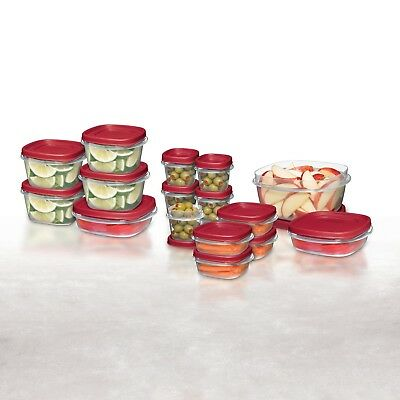 Rubbermaid 34pc Easy Find Lids Food Storage Container Set, Clear/Red