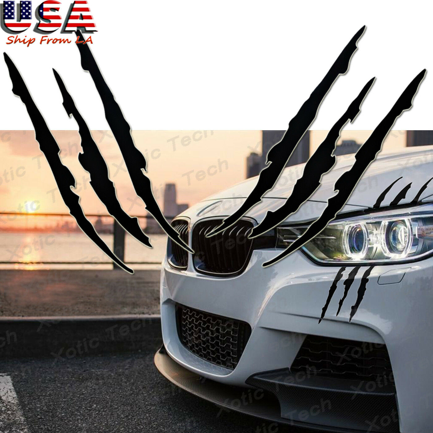 A pair scratch beast monster car window vinyl decal sticker headlight decal