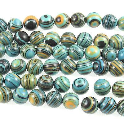 Striped Lace Turquoise Malachite 8mm Round Beads, Manmade Gemstone (48 Pieces) Malachite 8mm Round Beads