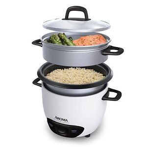New! Aroma Arc-3-Cup (Uncooked) 6-Cup (Cooked) Rice Cooker Food Steamer
