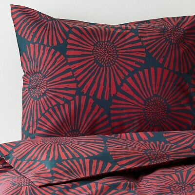 NEWIkea STJARNTULPAN Full/Queen Duvet Cover set w/2 Pillowcases Dark Blue Red