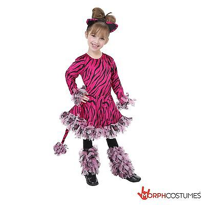 Girls Cute Pink Tiger Fancy Dress Costume Kids Jungle Animal Tigress Outfit ](Tiger Costumes For Girls)
