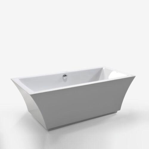 "67"" Freestanding bathtub with overflow white contemporary soaking tub Susan"