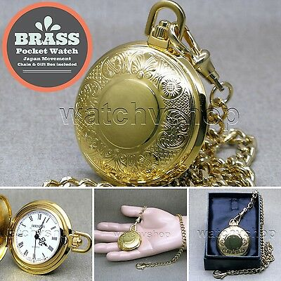GOLD Pocket Watch Brass Quartz Watch for Men Roman Numbers with Fob Chain P263