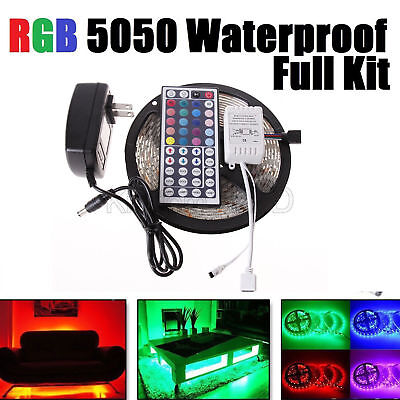 5M RGB 5050 Waterproof LED Strip light SMD 44Key Remote 12V US Power Full Kits - Indoor String Lights