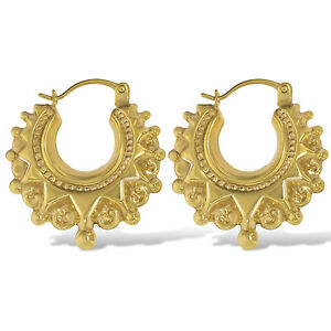 9CT GOLD SPIKE EARRINGS 20MM ROUND VICTORIAN CREOLE TUBE GYPSY HOOPS GIFT BOX