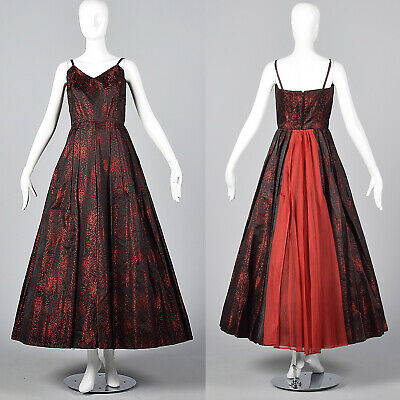 XS 1950s Dress Red and Black Brocade Party Dress Cocktail Party Outfit 50s VTG ()