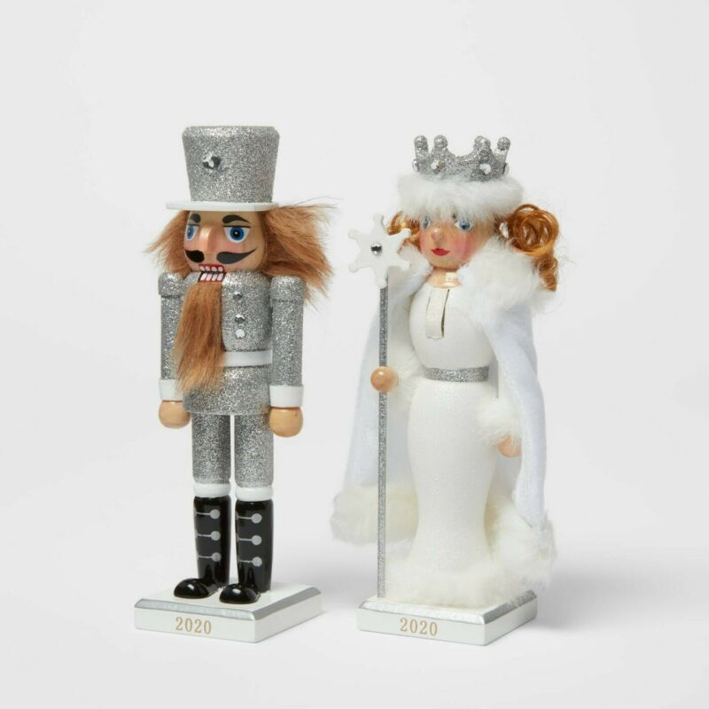 """Set of 2 Glitter Nutcrackers 2020 Toy Soldier & Snow Queen 8"""" Silver/White Xmas"""