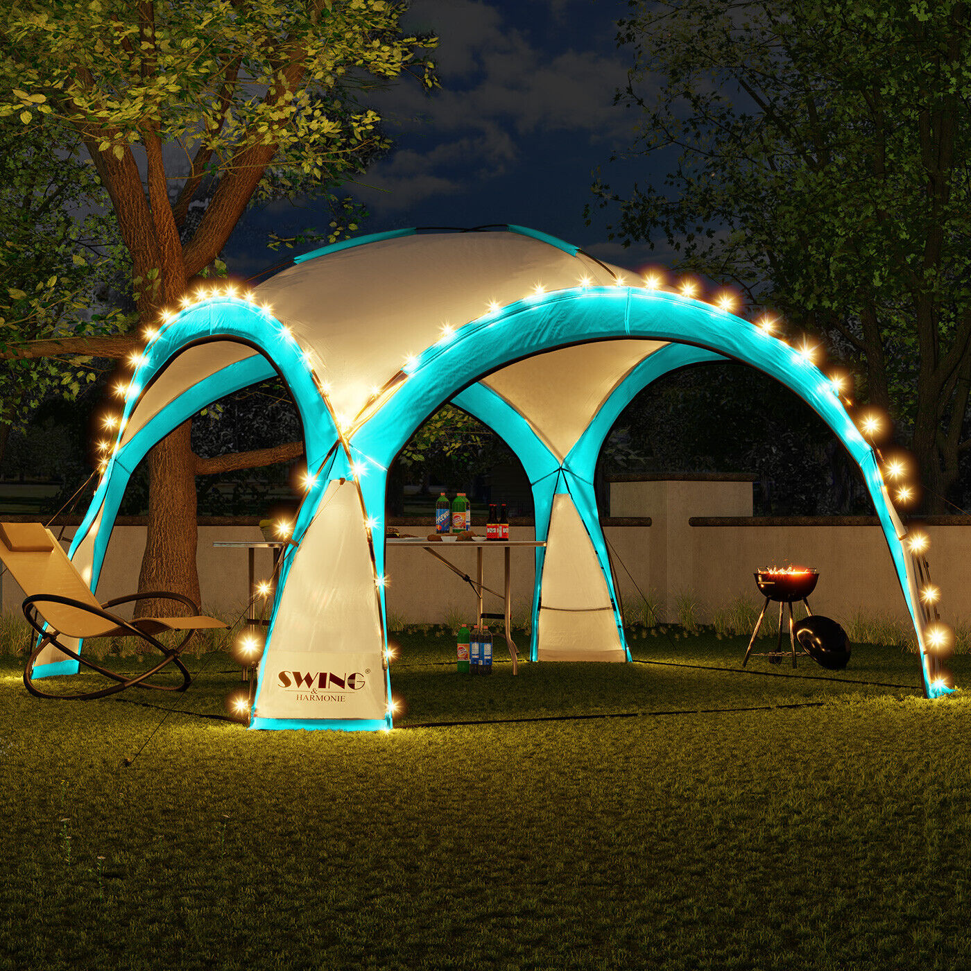 LED - Event Pavillon Partyzelt Garten Pavilon Gartenzelt Solar Camping Pavilion