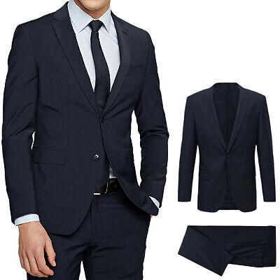 Abito Uomo blu Elegante Slim Fit Vestito Da cerimonia Sartoriale 44 46 48 50 52