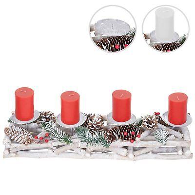 Adventskranz länglich, Weihnachtsdeko Adventsgesteck, Holz 11x15x50cm weiß-grau