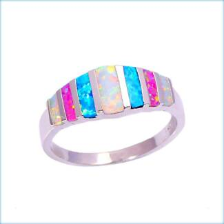 BLUE WHITE PINK CREATED FIRE OPAL 925 SILVER FILLED BAND RING.