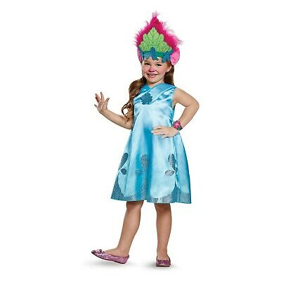 Trolls Poppy Costume Child Small 4-6X Kids Youth Halloween Troll Hair Wig New - Kids Troll Costume