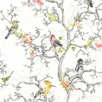 ORNITHOLOGY BIRDS WALLPAPER WHITE HOLDEN 98060 - FLORAL FEATURE WALL NEW