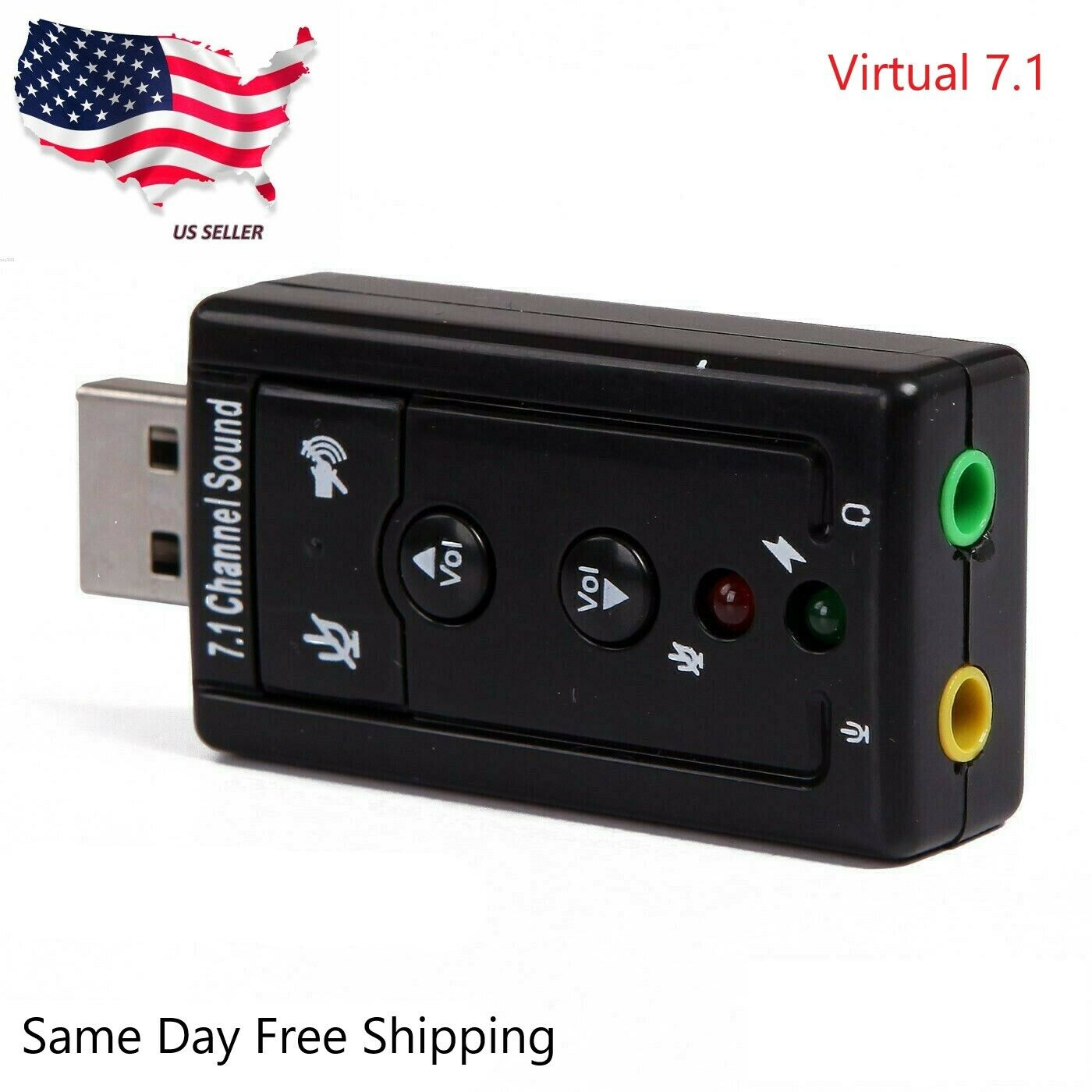 HDE 7.1 Channel Booster USB External Sound Card Audio Adapte