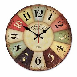 Silent Retro Wall Hanging Clock Home Decor Quiet Sweep Vintage Battery Operated