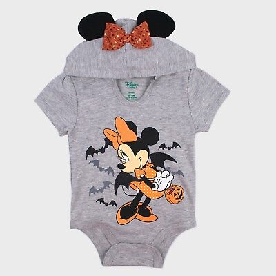 Grey Mouse Ears Halloween (Baby/Infant Girls Minnie Mouse SS Hooded Bodysuit Sparkly)