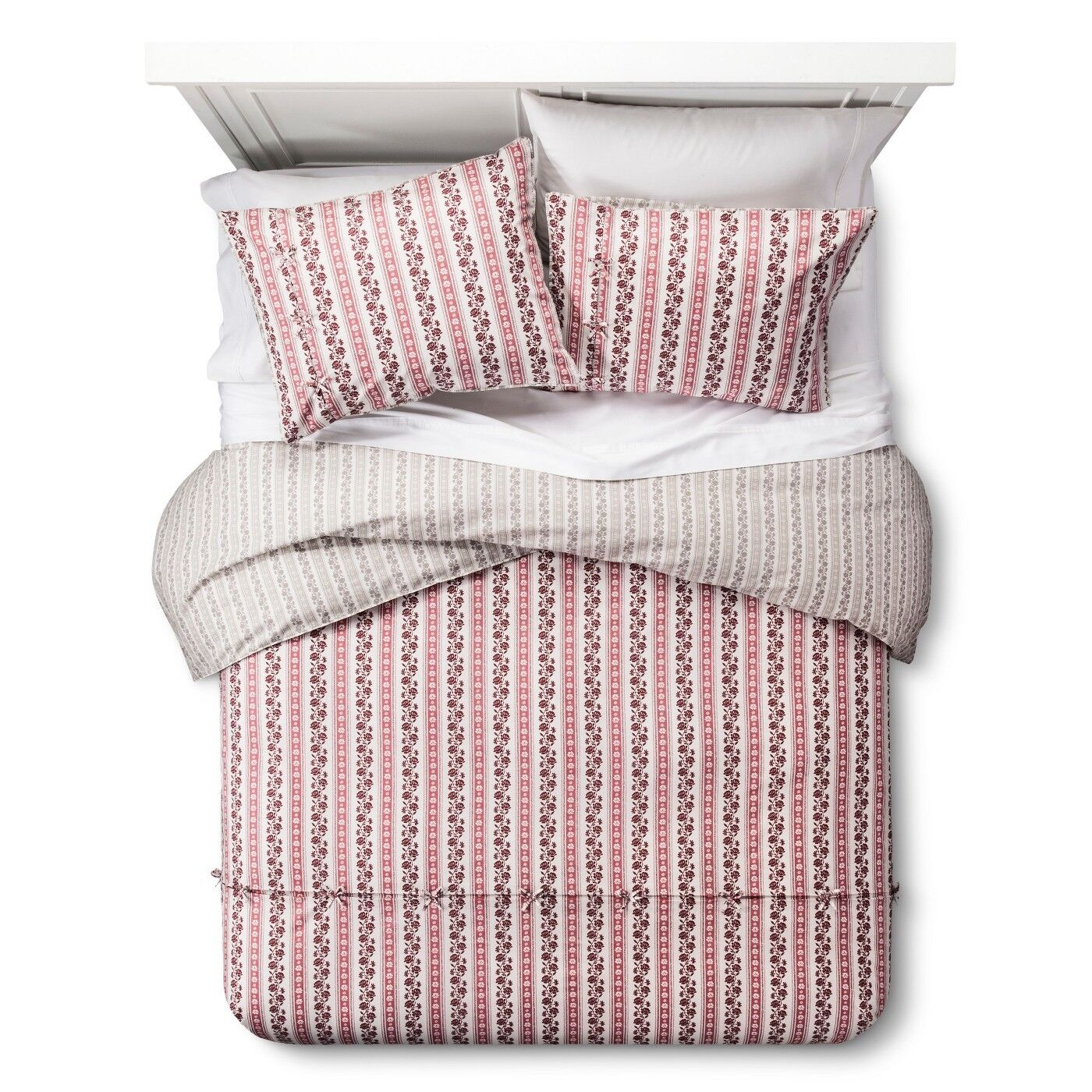 Darby Way Reversible Duvet Cover & Sham Set (Full/Queen) Red 3-Pc Beekman 1802 Bedding