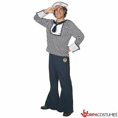 Mens Sailor Fancy Dress Costume Navy Uniform Complete Outfit Incl Hat Size L XL