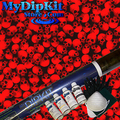 BEST Hydrographics My Dip Kit Activator Black/Clear SKULLS w RED PAINT (Best Hydro Dip Activator)
