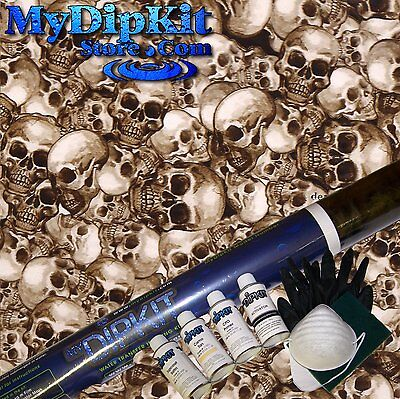 Hydrographics Dip Kit Brown Skull Pattern Hydro Dipping Ll-901 With Tan Paint