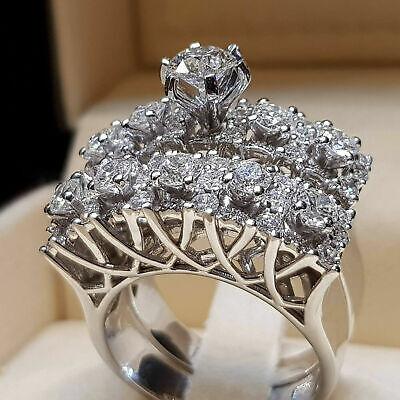 Luxury 925 Silver Round Cut White Sapphire Ring Set Engageme