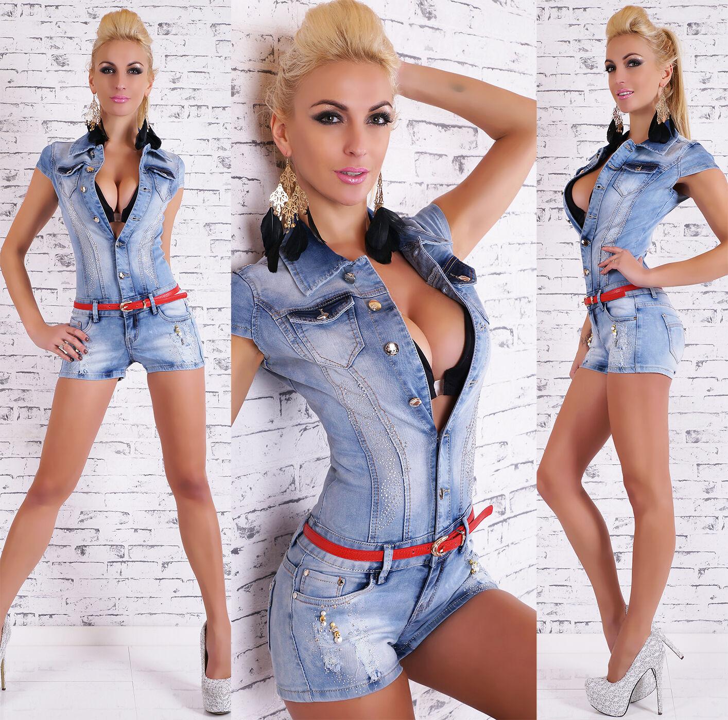 Women's Cap Sleeve Denim Jeans Short Romper Overall + Belt -